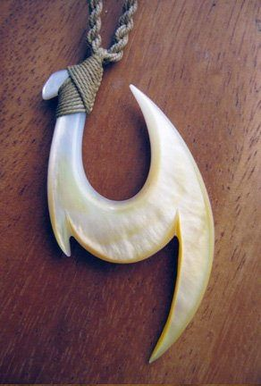 Hawaiian fish hook with Japanese 'katana' (sword) Made of Morher of pearl - Fish hook & Sword Collection. By Kiana Yoshi - Moku ʻ Aina Lani