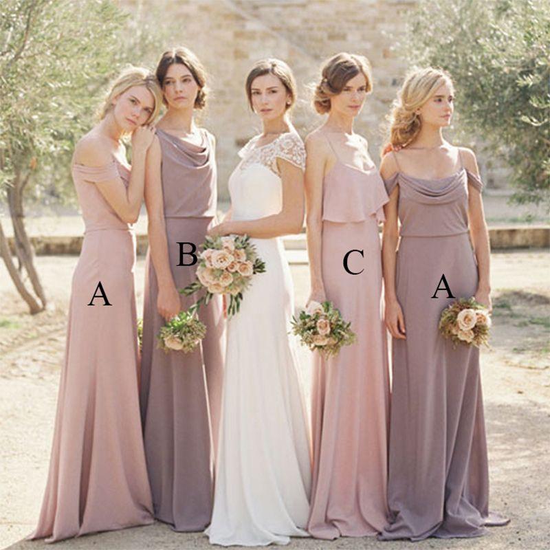 Click To Buy Simple Elegant Lavender Bridesmaid Dresses Long Blush Dress