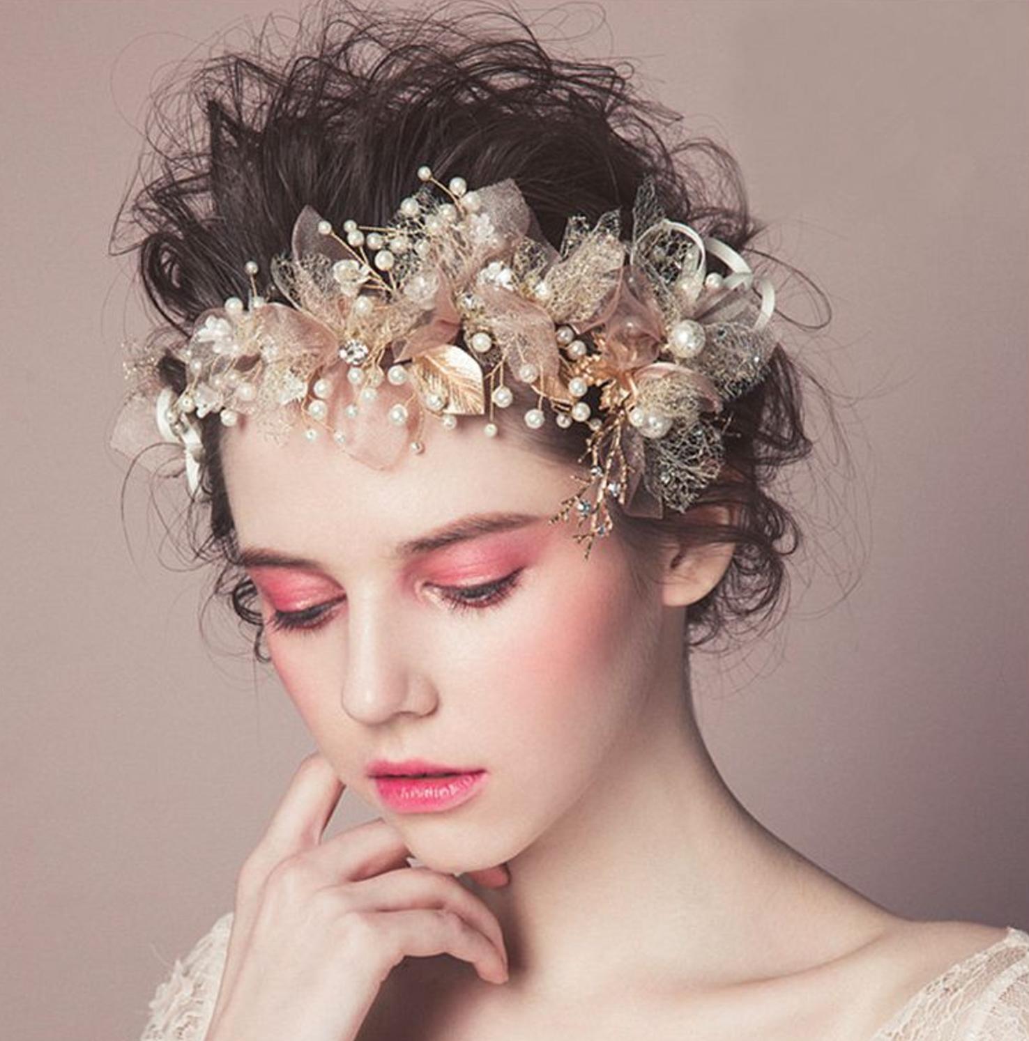 wedding bridal vintage leaf crystal gold tiara pearl headpiece