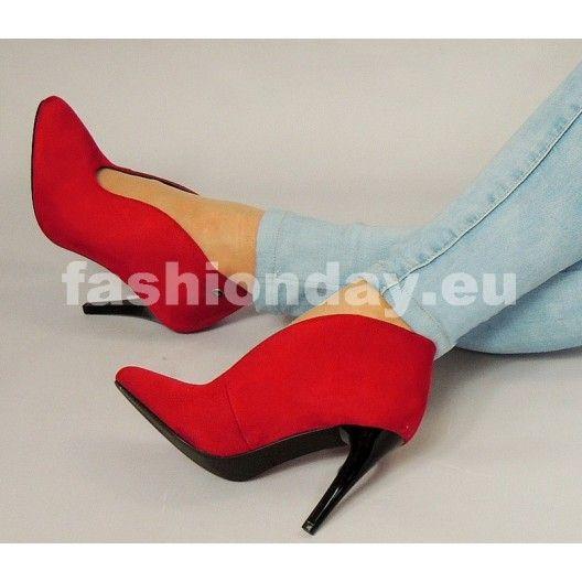 Dámska spoločenská obuv červenej farby - fashionday.eu  aa5eccb7c13