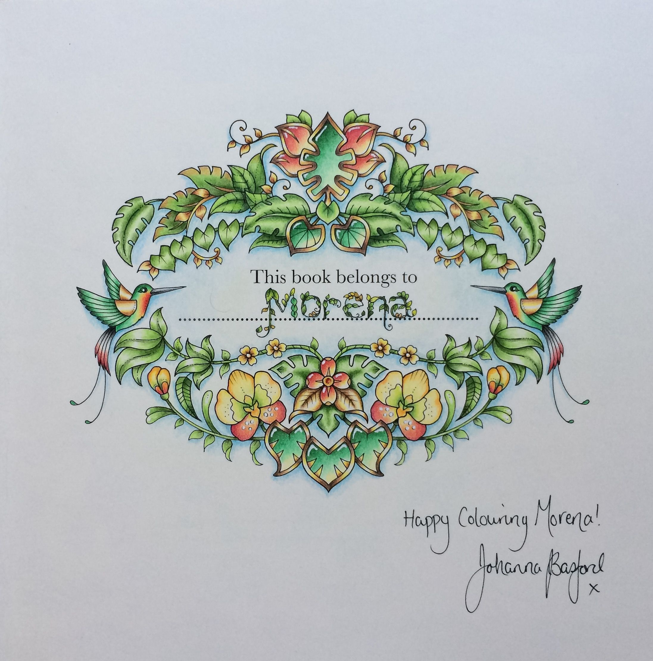 Book colour names - Name Page From Magical Jungle By Johanna Basford Coloured By Morena