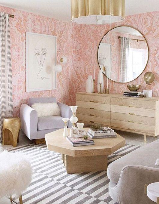 pink marble wallpaper by sarah sherman samuel