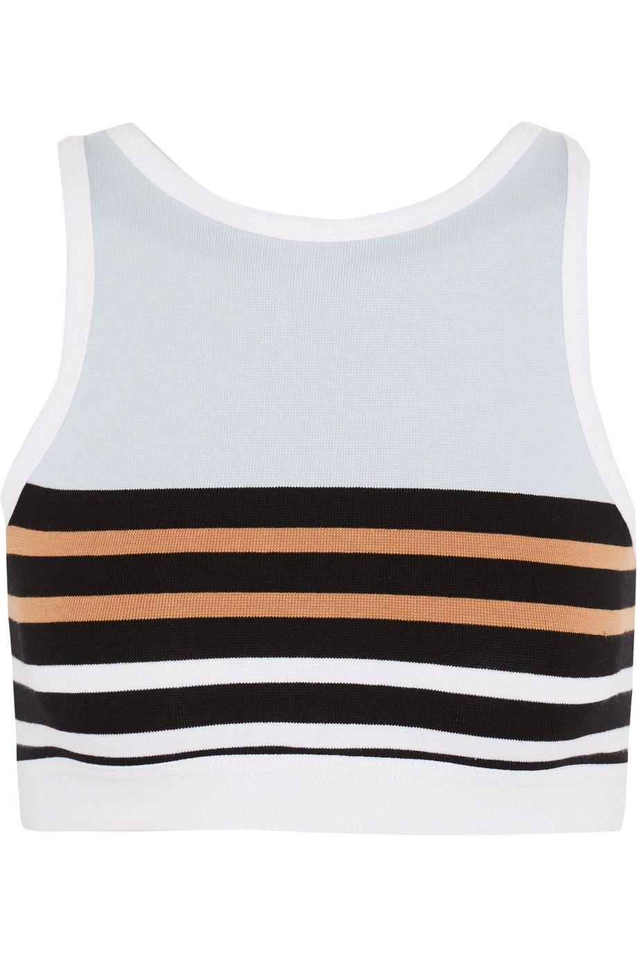 a36b691d30afd T BY ALEXANDER WANG Striped Stretch-Cotton Sports Bra.  tbyalexanderwang   cloth