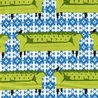 """Ganz toller Baumwollstoff von Robert Kaufmann mit tollem Muster  - Sofas!    Passt super zum Vögelchen-Stoff von """"Tufted Tweeds""""!    Breite: ca. 110 cm    Material: 100% Baumwolle    Farbe: lime/ weiß/blau    Pflege: 30°"""