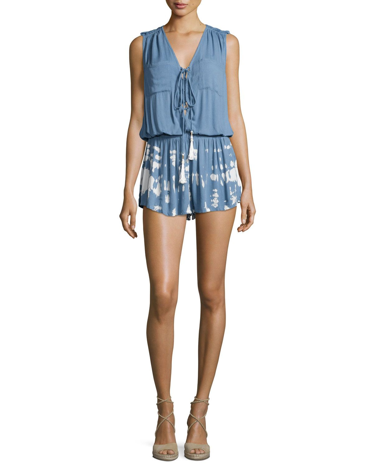 Vara Splatter-Print Lace-Up Romper, Chambray Acid Trip