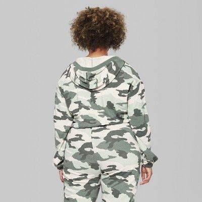 71e02fec00c Women s Plus Size Camo Print V-Neck Sweatshirt - Wild Fable Green 2X ...