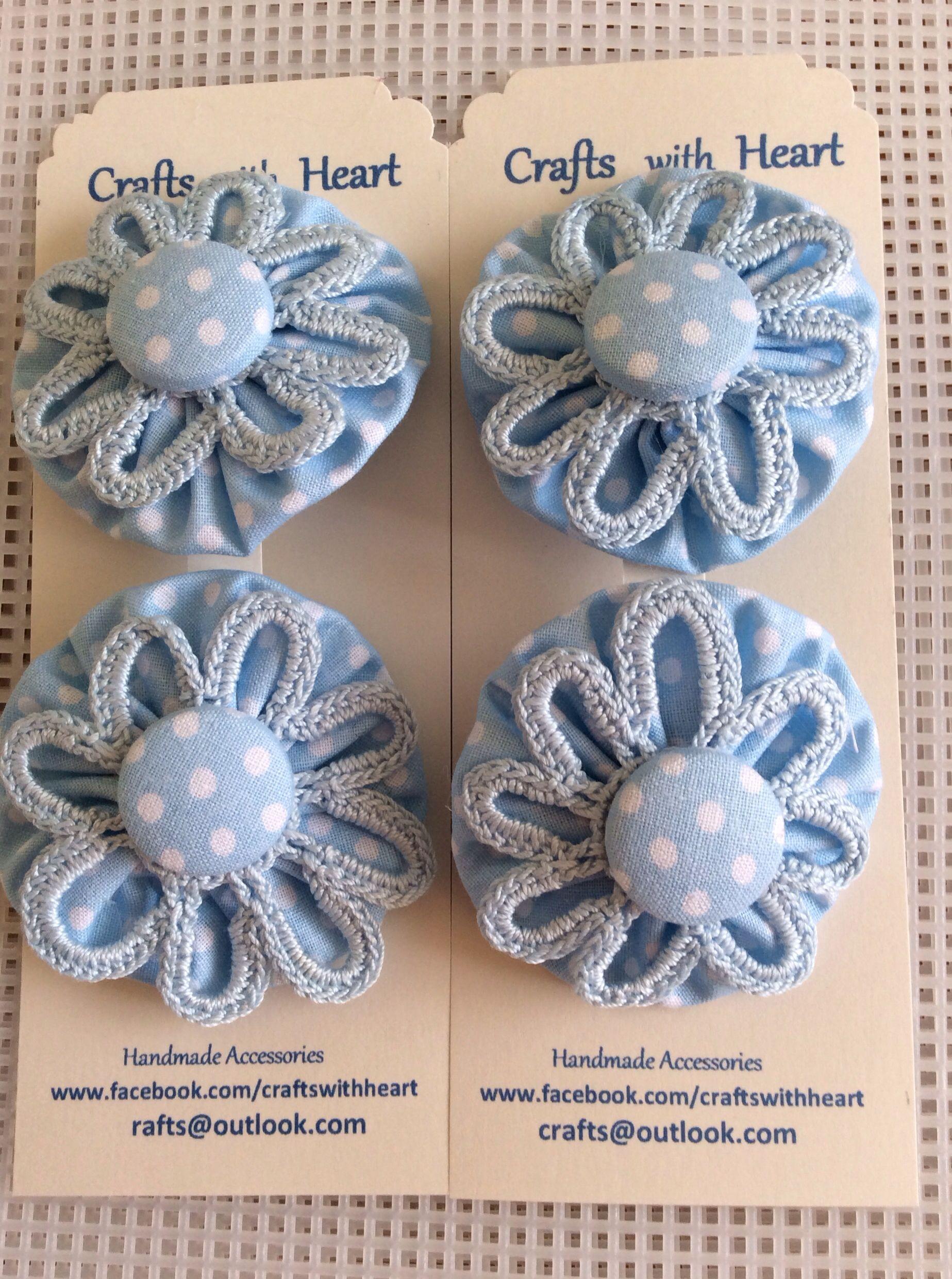 Yoyo's  bows. Crochet. French barrette de 3.5. 5.0. 8.0 cms y cholos o coleteros