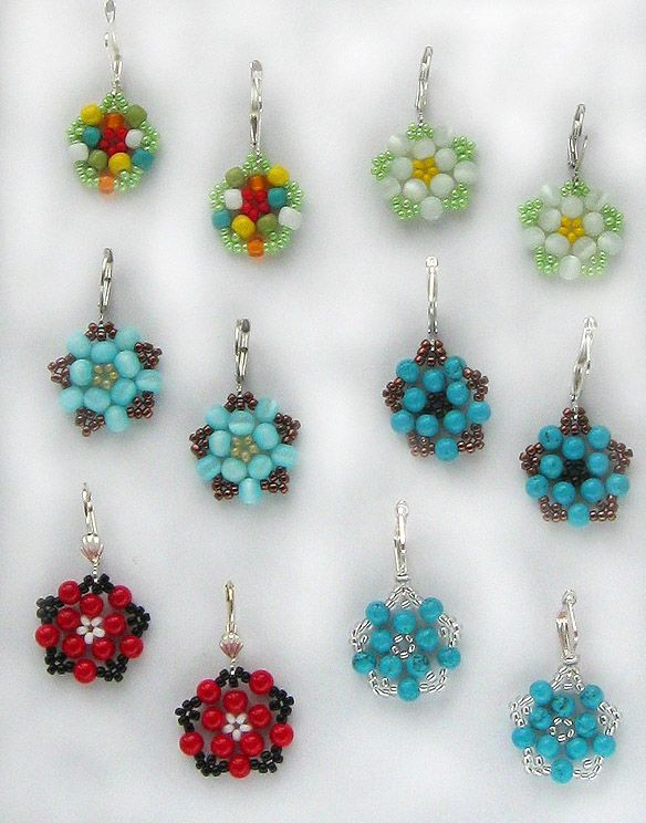 Free Pattern For Pretty Beaded Earrings Floweret U Need Seed Beads 11 0 Round 3 4 Mm