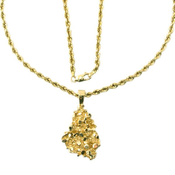 14K Gold Nugget Style Necklace 22 Long Necklace in 14K Gold