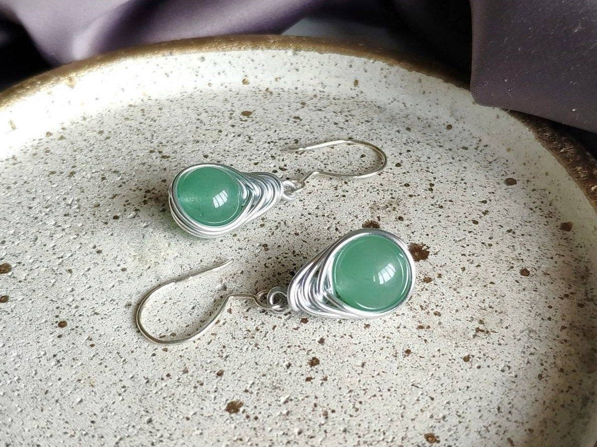 Photo of Aventurine Wire Wrapped Earrings with Silver Hooks, Green Spring Boho Earrings, Fairy Earrings for Girlfriend, Dainty Tears, Mori Girls