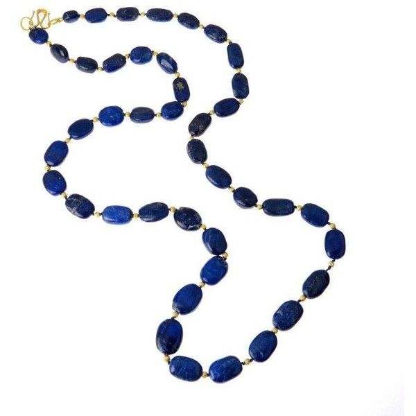 Graduated Oval Natural Lapis Lazuli 18k Gold Necklace ($485) ❤ liked on Polyvore featuring jewelry, necklaces, beaded jewelry, gold necklace, graduation jewelry, beaded necklaces and oval necklace