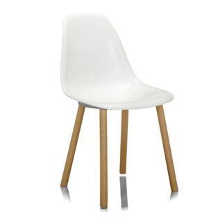 Chaise blanche avec piétement en bois design scandinave Blanc - Hop ...