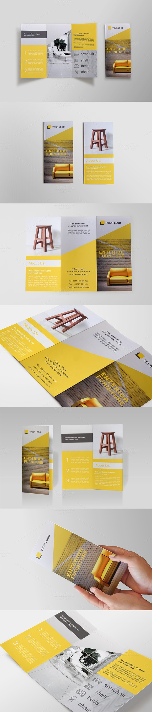Furniture tri fold brochure bms brochure templates for Furniture brochure design inspiration
