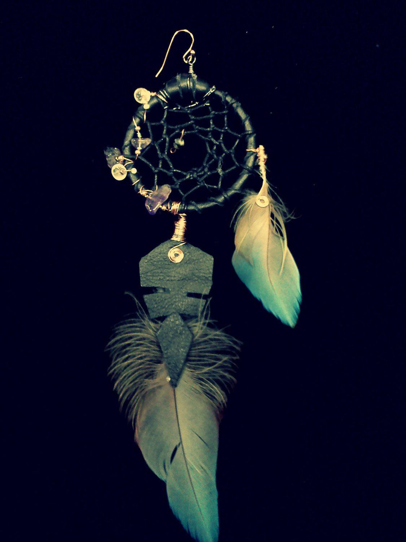 Brass earrings Feather earrings Gemstone earrings Amethyst earrings Boho earrings Dream catcher earrings