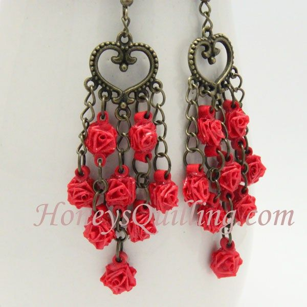 How to make tiny paper quilled rose earrings free tutorial from how to make tiny paper quilled rose earrings free tutorial from honeys quilling mightylinksfo
