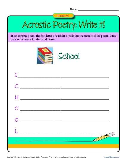 acrostic poetry write it k12 poetry poetry activities worksheets. Black Bedroom Furniture Sets. Home Design Ideas