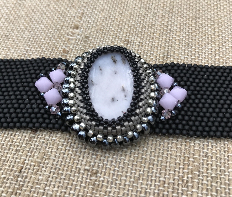 Pink Opal - One of a Kind Handwoven Peyote Stitch Bracelet by NokomisBeadAndDesign on Etsy