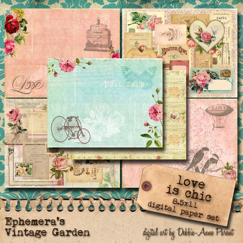 Amor y Romance papel Digital paquete por EphemerasGarden en Etsy