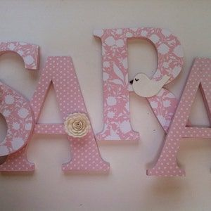 Alphabet Wooden Letters for Nursery in Pink and White | Etsy