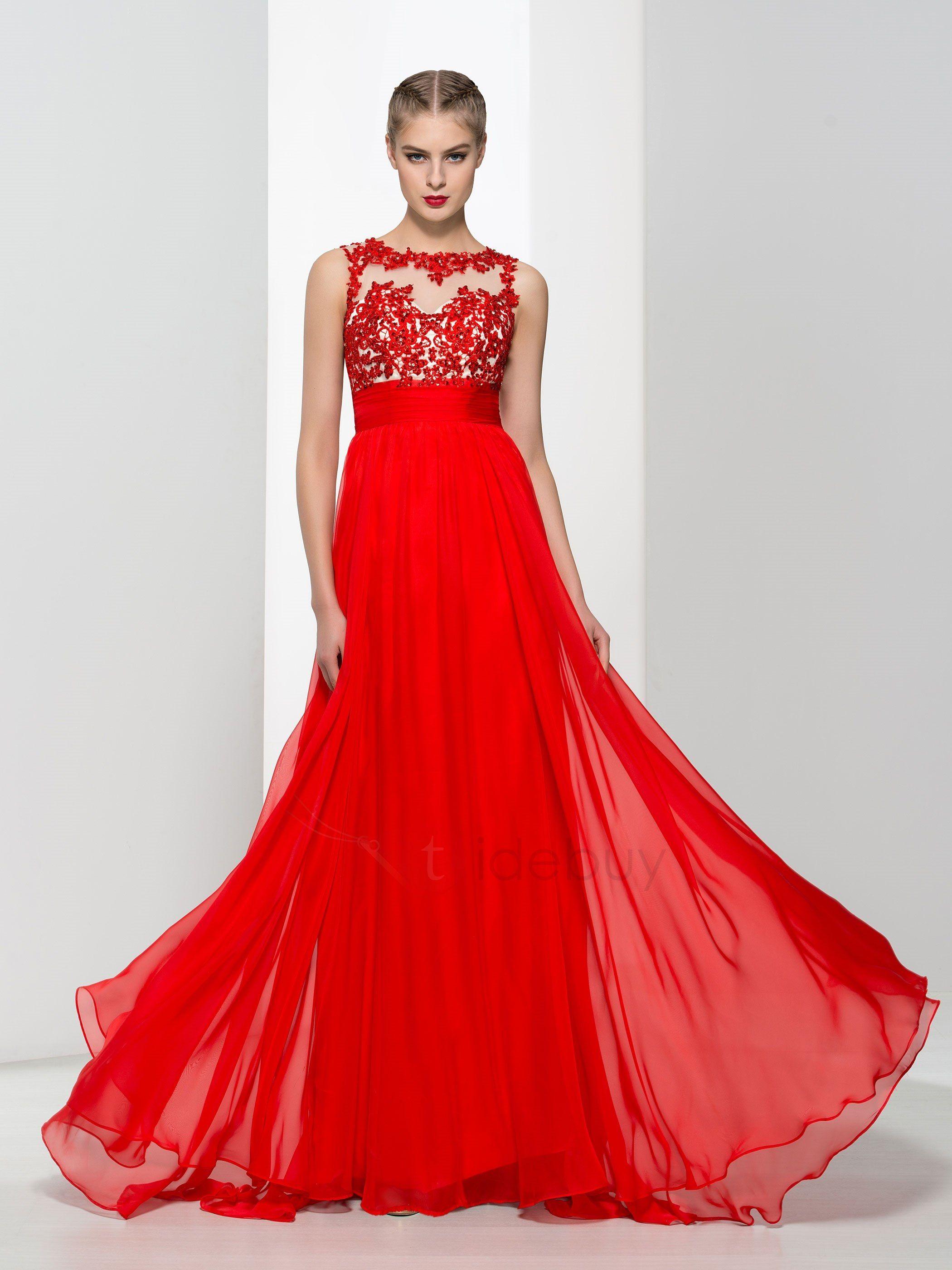 Erstaunlich Trägern Applikation Rückenfrei rotes Abendkleid ...
