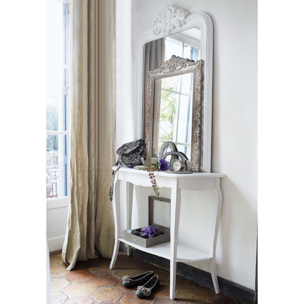 Table console en bois blanche l 94 cm entr e pour la maison et int rieur - Maison du monde 94 ...