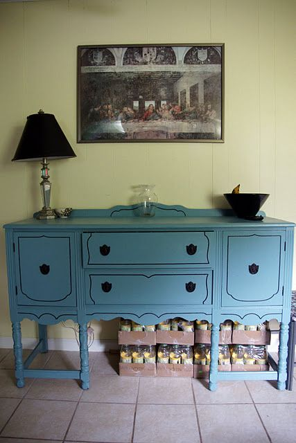 refurbished robin s egg blue buffet table hey cool i made that rh pinterest com blue candy buffet table blue buffet table for sale