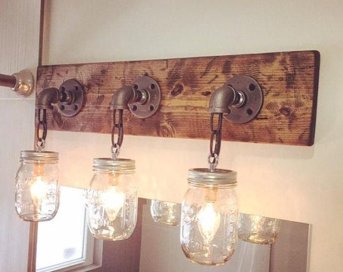 Rustic Industrial Modern Mason Jar Lights Vanity Light: RUSTIC DISTRESSED Mason Jar Light Fixture, 3 Mason Jars