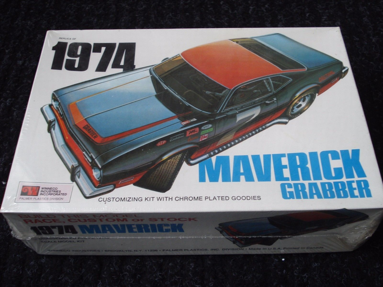 New Sealed In Plastic 1974 Ford Maverick Grabber Model Kit Rare