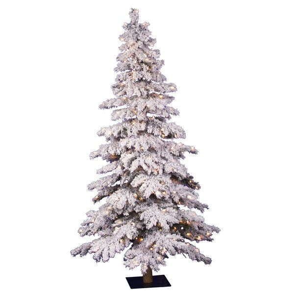 5694ae812147 You'll love the 5' Flocked Spruce Alpine White Artificial Christmas Tree  with 250 Clear Lights at Wayfair - Great Deals on all Décor & Pillows  products with ...