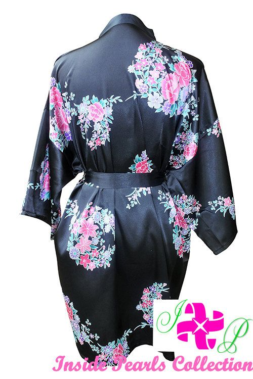 6ca6d953b9c NEW Black Floral Satin Silk Dressing Gown Wedding Robe bridesmaid robes  gowns