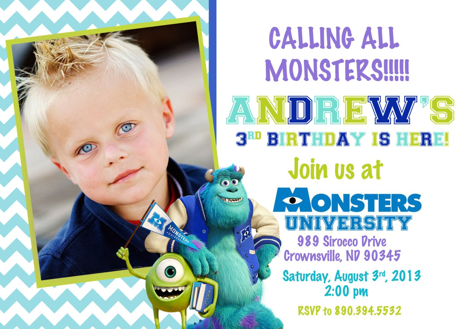 Monsters University Birthday Party Invitation by PrettyPaperPixels ...