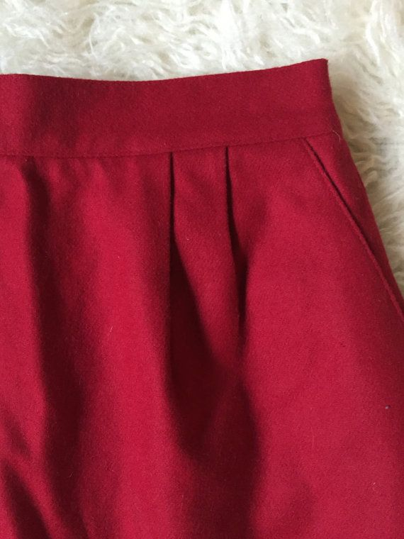 Red Wool Knee Length High Waisted Skirt by littlewrensvintage