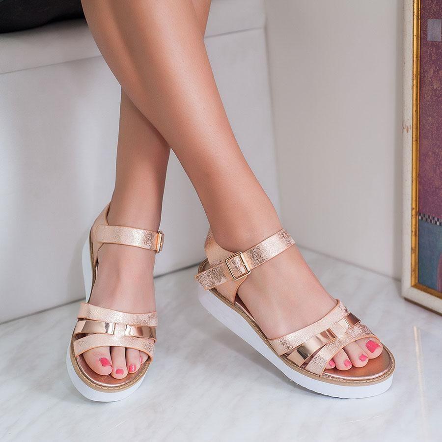 Sandale Dama Cu Platforma Illoria Rose Gold With Images Sandale Pantofi Piele