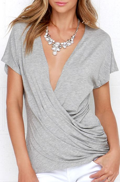 Shop Grey Deep V Neck Backless Slim T-Shirt online. SheIn offers Grey Deep V Neck Backless Slim T-Shirt & more to fit your fashionable needs.