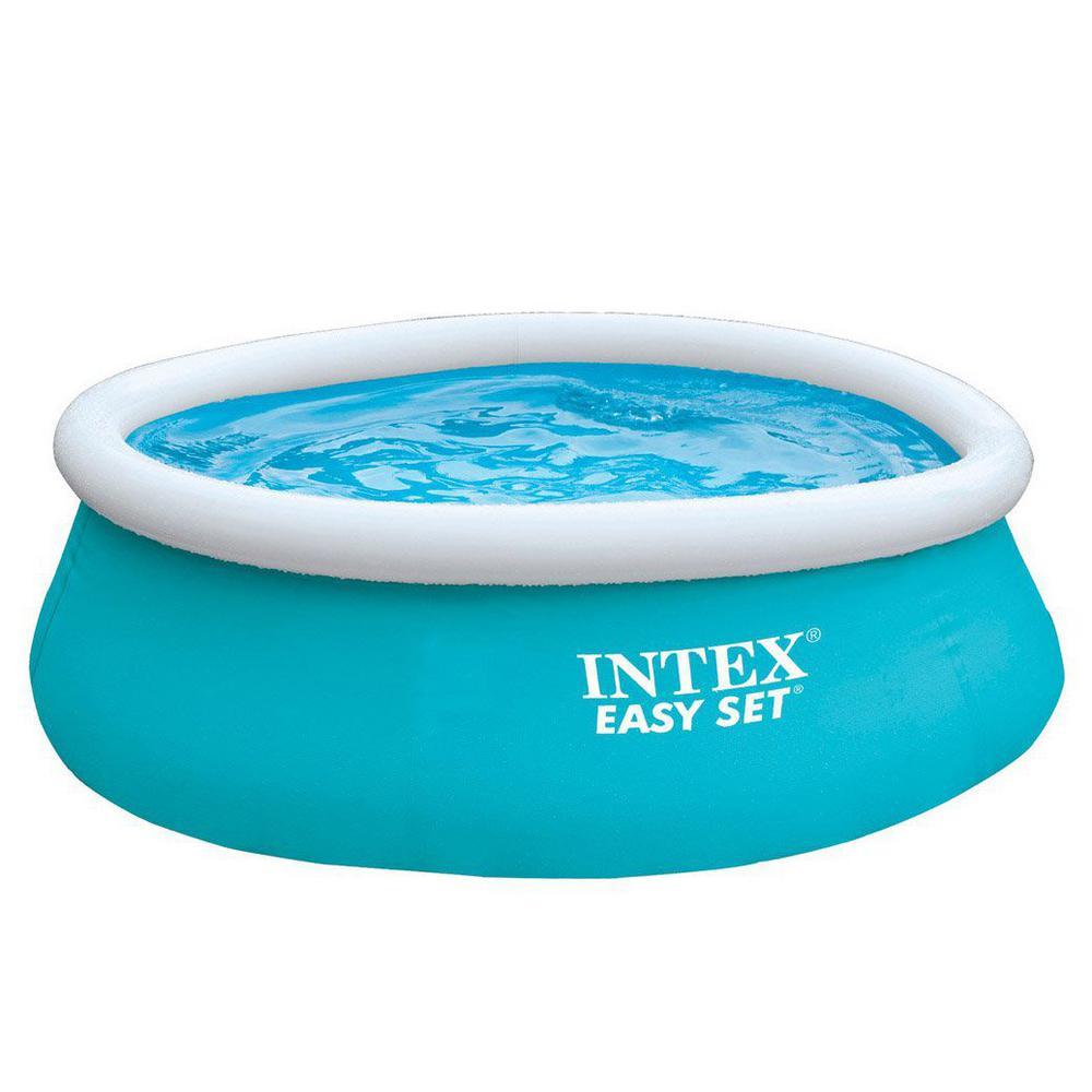 Intex 6 Ft X 20 In Easy Set Inflatable Swimming Pool Aqua Blue 54402e 28101eh The Home Depot Easy Set Pools Children Swimming Pool Inflatable Pool