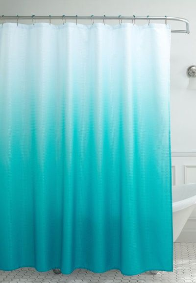 Instantly Update Your Bathroom Decor With This Stylish Turquoise Ombre Waffle Weave Shower Curtain The Gradual Color Change Of Affect Looks