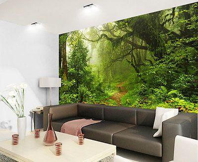 Tropical Dark Green Forest Nature Rainforest 3d Full Wall Mural Photo Wallpaper Ebay Green Wall Decor Wall Murals Mural Wallpaper