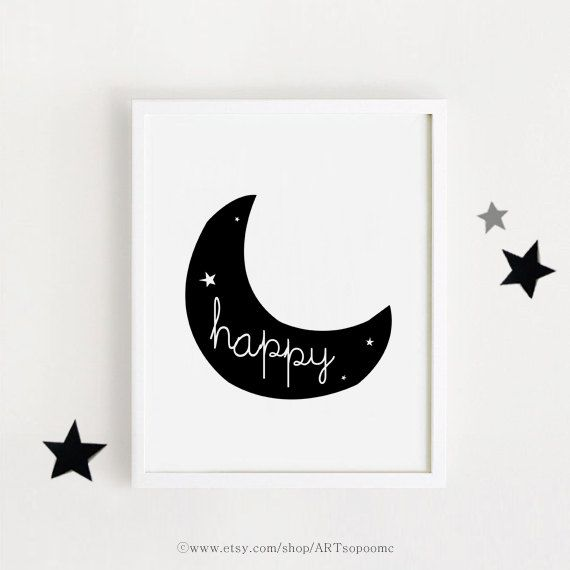 happy moon art printable print baby room deco download scandinavian art poster wall decal black. Black Bedroom Furniture Sets. Home Design Ideas