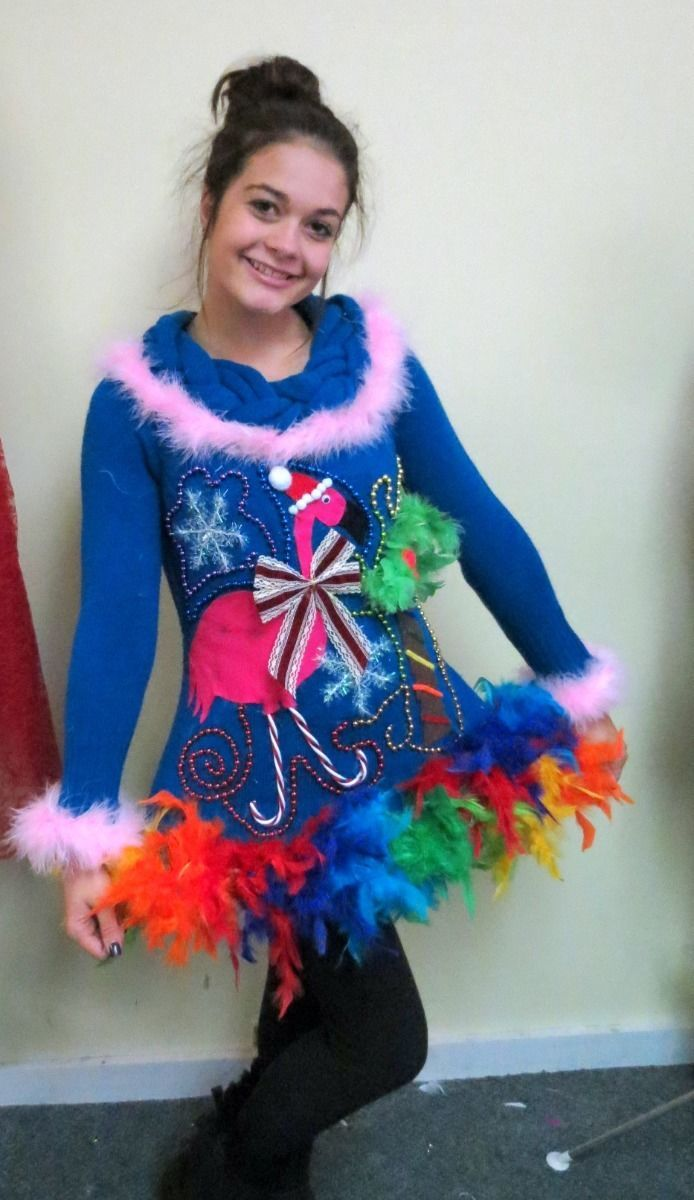 Pink flamingo tropical light up tacky ugly christmas for Ugly christmas sweater ideas make your own