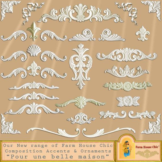 Shabby French Provincial Resin Furniture Applique Crest