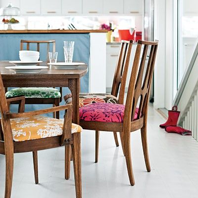 upholstered dining room chairs = updated shabby chic   Woven ...