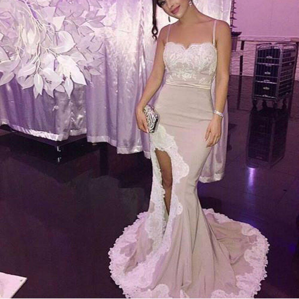 Sexy side slit spaghetti long mermaid lace prom bridesmaid dresses