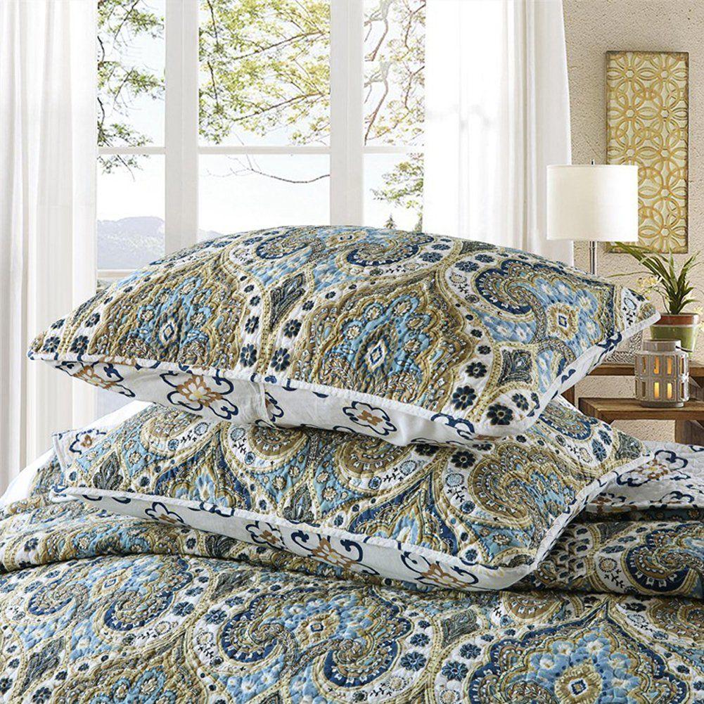 Halzander Quilts Queen Set Cotton Quilted Bedspread Sets3 Piece Bedding Reversible Comforter Coverlet Set Luxury Green Garden Queen Size Con Bed Bed Spreads