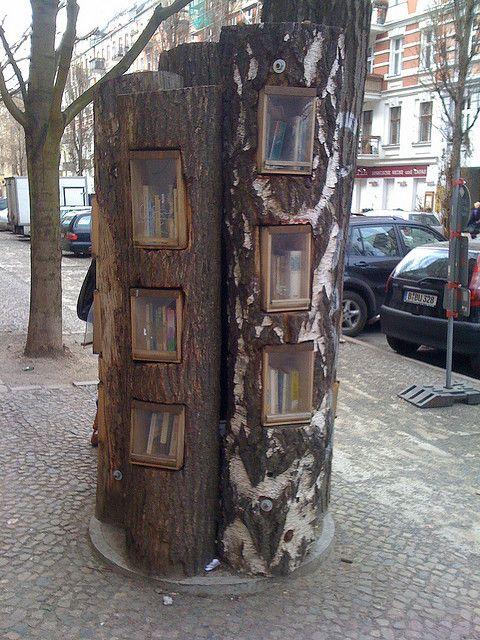 Berlin Bookshelf: a public bookshelf in the middle of the sidewalk in Berlin