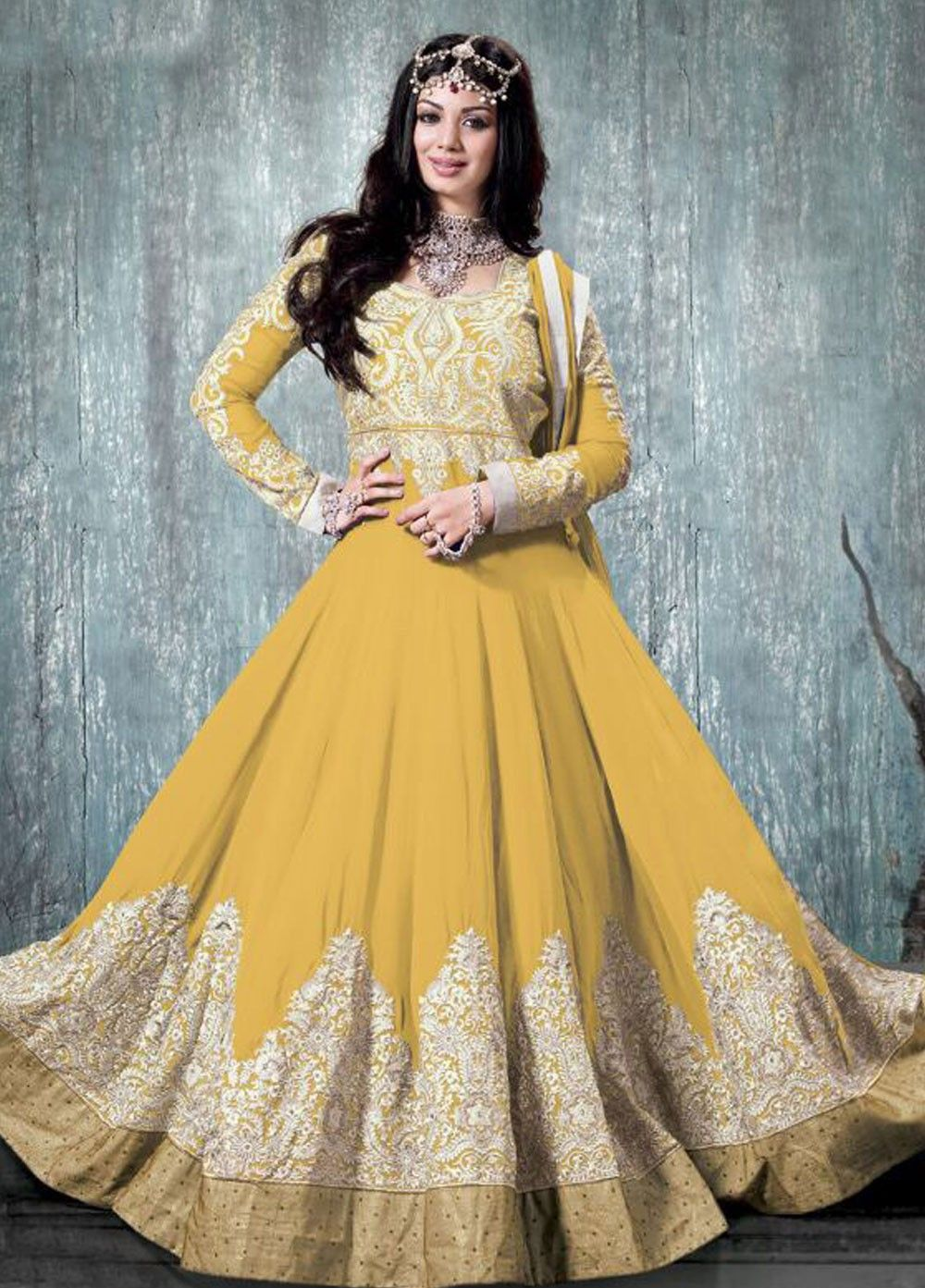 Georgette Anarkali Style Suit Yellow Colour.