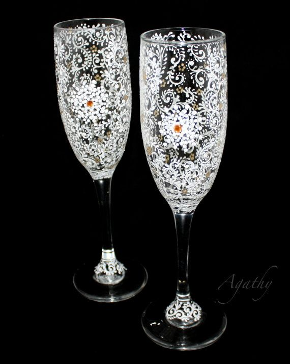 Elegant Champagne wedding glasses Delicate hand painted lace