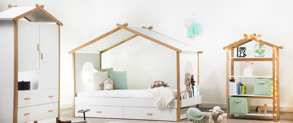 Cama cabaña infantil con cajones diseño BIRDY | ..Compras ...