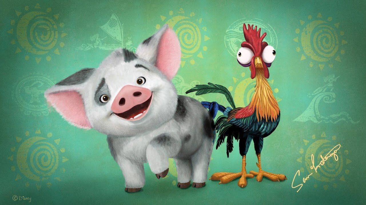 Drawing Of Pua And Hei Hei From Disney Moana Done In Procreate On Ipad Pro With Apple Pencil By Sam Laterza Drawings Ipad Drawings Disney Moana