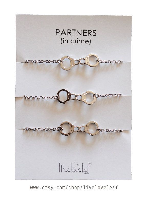 Matching Best Friends Bracelets Set Of 3 Silver Tone Handcuffs Partners In Crime Bracelet Bff Jewelry Rhodium Plated
