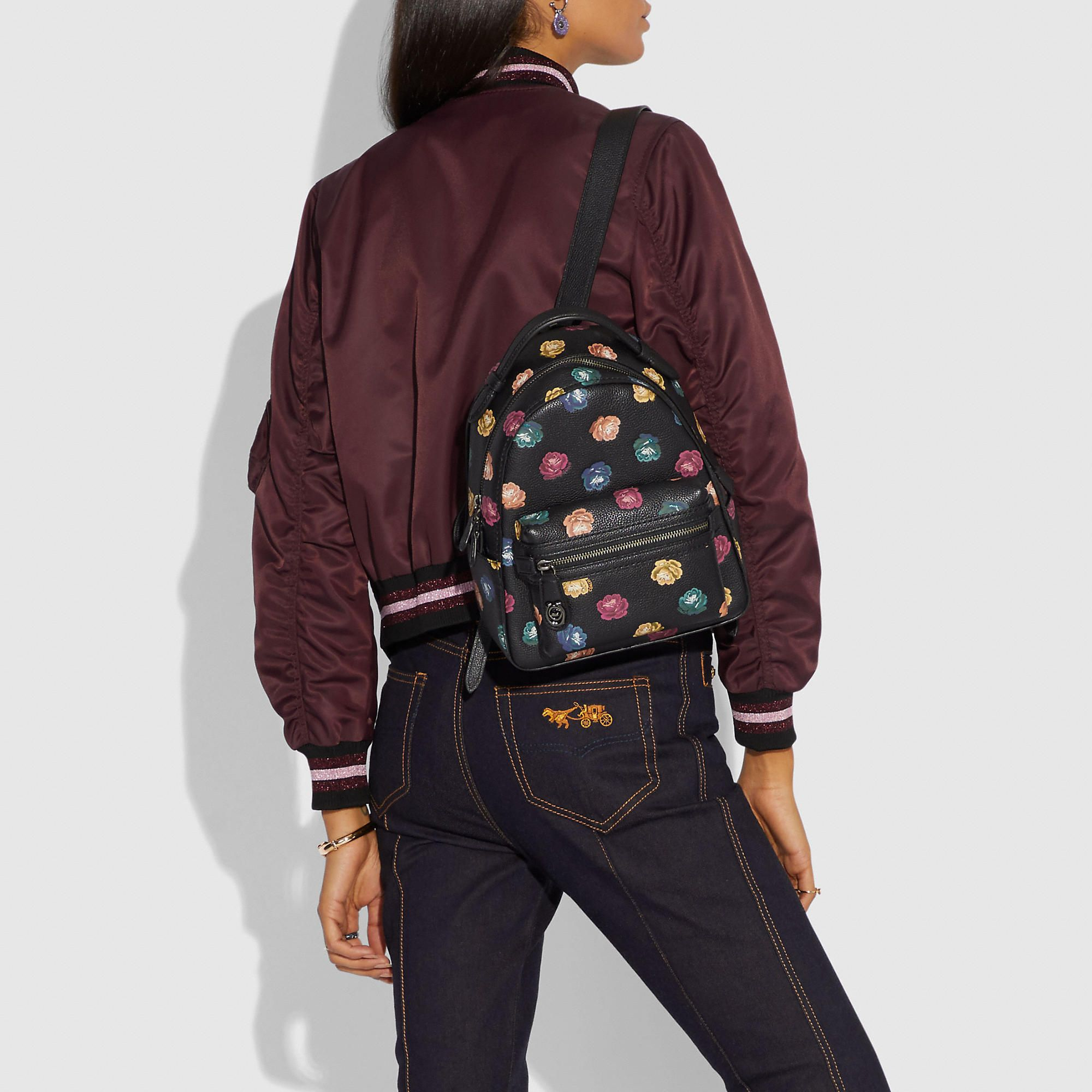 9ffa55142eb0 COACH Campus Backpack 23 In Polished Pebble Leather With Rainbow Rose Print  - Women s Backpacks